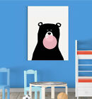 Black Bear Gum Cute Scandinavian Animal Nursery Wall Decor Art Poster Print