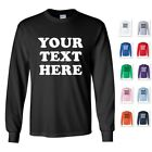 PERSONALIZED CUSTOM PRINT YOUR OWN TEXT ON A LONG SLEEVE T-SHIRT TEE MEN'S  image