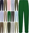 Ladies Plain Half Elasticated Waist Trousers Women 2 Side Pocket Formal Pant Lot