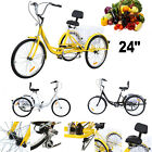"Adult 24"" 3-Wheel Shimano 6-Speed Tricycle Trike Bicycle Bike Cruise With Basket"