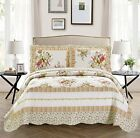 Fancy Linen Bedspread Set Floral Off White Green Purple Pink All Sizes New image