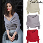 Women Deep V Long Sleeve Cardigan Knitted Sweater Wrap Knitwear Sweaters Clothes