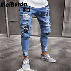 Fashion Men's Ripped Skinny Jeans Destroyed Frayed Slim Fit Denim Pant Zipper US