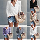 Womens Pure Long Sleeve Pullover Knitted Sweater Shirt Button Blouse Jumper Tops