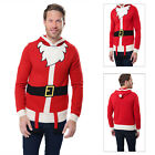 Threadbare Mens 3D Santa Suit Christmas Jumper Hooded Winter Xmas Sweater
