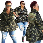 Women Camouflage Sequin Splice Club Casual Cool Long Coat Jacket Out Wear