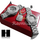 New HIP HOP ICED OUT SILVER FINISHED SIMULATED DIAMOND WATCH NECKLACE SET GW202S image