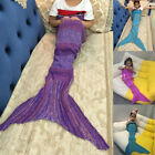 Mermaid Tail Sofa Blanket Warm Hand Crocheted Knitting Cotton Wrap For Kids image