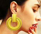 CIRCLE GOLD TONE LARGE STATEMENT METAL GEO EARRINGS MANY COLOURS -UK SELLER
