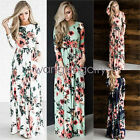 Womens Floral Long Maxi Dress Long Sleeve Evening Party Summer Beach Sundress for sale  Shipping to Canada