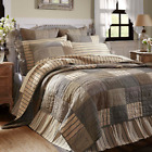 New FARMHOUSE SAWYER MILL Gray Ticking Burlap Patchwork Quilt Bedding YOU CHOOSE image