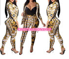 Women Gold Print Two-Piece Set Turn Down Collar 3/4 Sleeve Button Jacket Pants