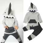 UK Baby Boy Autumn Clothes Shark Hooded Tops Pants Toddler Outfits Set Tracksuit