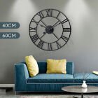 Retro Roman Numeral Wall Clock Metal Indoor Outdoor Vintage Home Round Silent