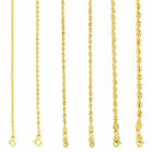 Kyпить 10K Yellow Gold Light 1.5mm-4mm Diamond Cut Rope Chain Pendant Necklace 14
