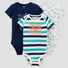 Baby Boy Lot of 3 Bodysuits Here Comes Trouble & Transportation NWT Cotton JOY
