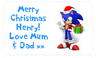 PERSONALISED PARTY BAG STICKERS CHRISTMAS XMAS PRESENT TAG LABEL SONIC HEDGEHOG