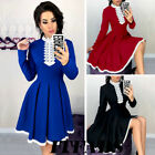 Women's Vintage Long Sleeve Casual Christmas Prom Evening Party Swing Maxi Dress