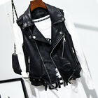Ladies Faux Leather Waistcoat Gilet Biker Sleeveless Jacket Vintage Women Coats