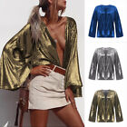 Hot Womens Fashion Sexy Sequin Jacket Trumpet Sleeve Cardigan Spring Autumn Tops