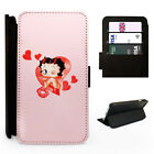 Cute Betty Boop Retro Hearts Flip Phone Cover Case Faux Leather Wallet Style £9.85 GBP on eBay