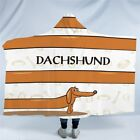 Dachshund Cartoon Hooded Blanket for Kids Pet Dog Sherpa Wearable