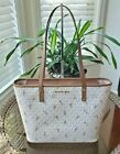 New Michael Kors Jet Set Travel Medium Leather Signature Carryall Tote Bag