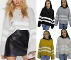 Womens Oversized Fit Wide Sleeve Jumper Top Slouch Striped Casual Knitted