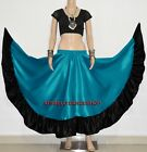 Teal Satin Belly Dance 12 Yd Flamenco Full Circle Ruffle Gypsy Skirt Tribal ATS