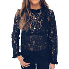 Tee Tops Women Ladies Long Sleeve Shirt Hollow out Flowers Lace Fashion Blouse <br/> ❤️US Seller❤️Free Shipping❤️60 Days Free Return