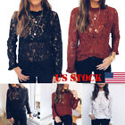 Tee Tops Women Ladies Long Sleeve Shirt Hollow out Flowers Lace Fashion Blouse