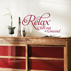 LARGE Relax Vinyl Art Wall sticker, Quote- bedroom- bathroom decals