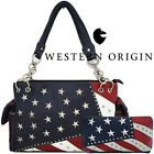 American Flag Stars and Stripes Women Leather Handbag Country Purse / Wallet