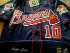 New Majestic NAVY Atlanta Braves #10 Chipper Jones WS Patch all sewn Jersey Mens