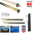 """58"""" WOODEN POOL SNOOKER BILLIARD CUE SET 2x Two Piece Cues with Screw Tips Stick"""