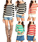 Casual Scoop Neck Long Sleeve Striped Sweater  S ~ L