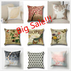 Square Home Decorative Cotton Linen Pillow Case Sofa Waist Throw Cushion Cover