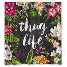 Thug Life Floral Design Custom Shower Curtain Size 60x72 and 66x72