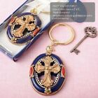 20-144  Gold Cross Themed Key Chain  - Religious Wedding Baptism Party Favors