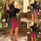 Us Women Long Sleeve Casual Mini Dress Ladies Evening Party Cocktail Club  Dress