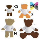 100 Blank White Teddy Bear Toy T-Shirt for Sublimation Transfer Bulk Wholesale