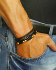 Mens Beads Bracelet Leather Beaded Man Surfer Wristband Rope Wrap For Men Set
