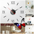3D Mirror Luxury Modern DIY Large Wall Clock Surface Sticker Home Office Decor