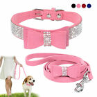 US Rhinestone Dog Collar and Leash Soft Suede Bow for Doggie Puppy Cat Small Pet