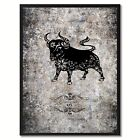 Zodiac Ox Horoscope Canvas Print, Black Picture Frame Home Decor Wall Art Gift I