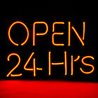 "12""x 9.8"" New Neon Sign Open 24 Hours for Windows Shop Store Hotel Beer 7 colors"