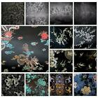 Faux Silk Brocade (Black Background) Jacquard Damask Kimono Fabric Material BL24