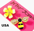 US Seller Betsey Johnson Crystal Bee Dangle Earring Pearl Fashion Jewelry Insect image
