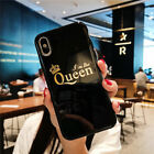Fashion Glossy Crown KING QUEEN Letter Phone Case Cover For iPhone Couples Case