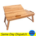 Bamboo Laptop Desk Adjustable Computer Table Stand Tray Bed Sofa With Flower Fan
